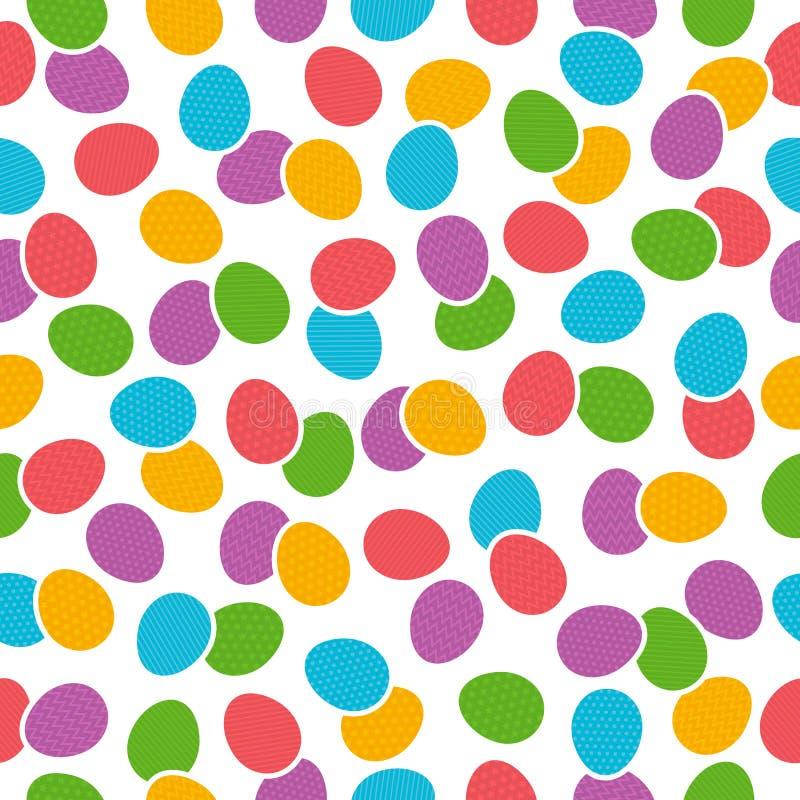 Nahtloses Muster mit Farb-Ostereiern über weißem Hintergrund lizenzfreie abbildung