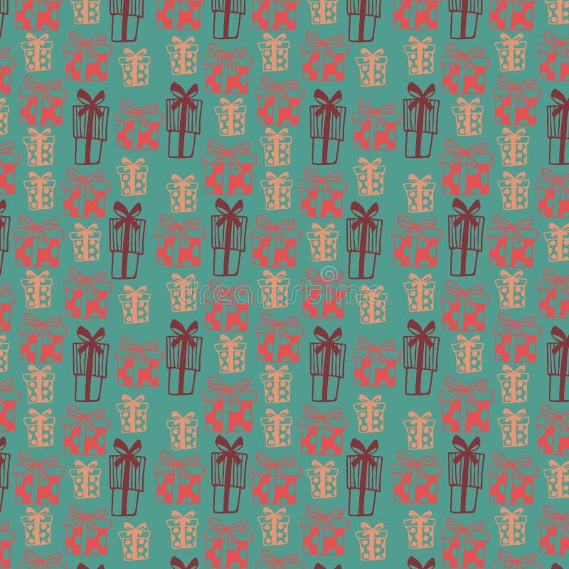 Nahtloses Muster mit farbigen Geschenkboxen auf grünem Hintergrund lizenzfreie abbildung