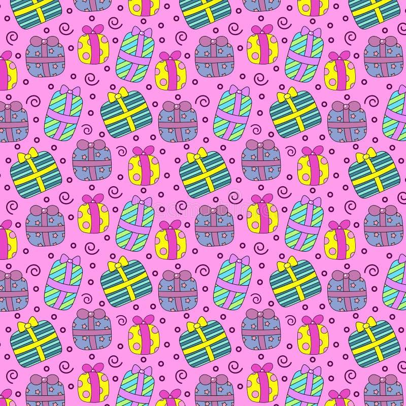 Nahtloses Muster mit farbigen Geschenkboxen auf rosa Hintergrund stock abbildung