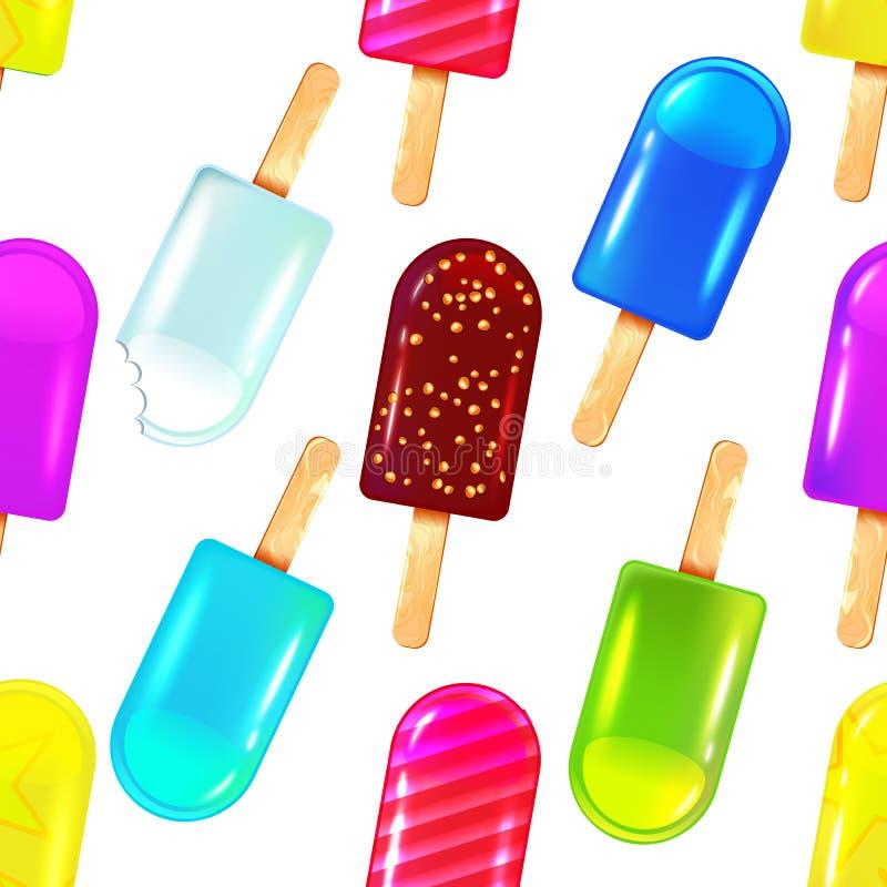 Nahtloses Muster mit farbiger Eiscreme stock abbildung