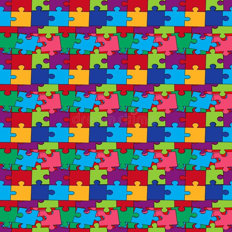 Nahtloses Muster mit Farbpuzzlespielen vektor abbildung