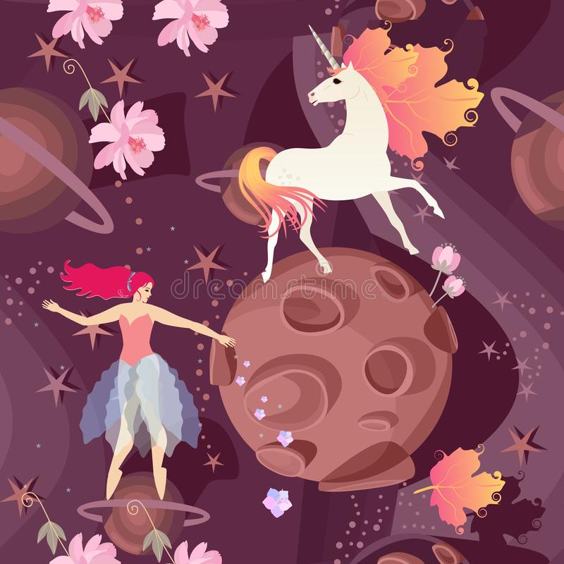 Nahtloses Muster mit feenhafter Ballerina und nettem Einhorn mit der M?hne in Form des Herbstlaubs auf Hintergrund der kosmischen stock abbildung