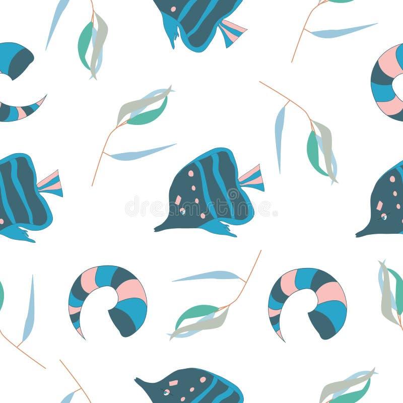 Nahtloses Muster mit Fischen und Oberteil auf weißem Hintergrund als Gewebe, Gewebe, Kleidung Auch im corel abgehobenen Betrag vektor abbildung