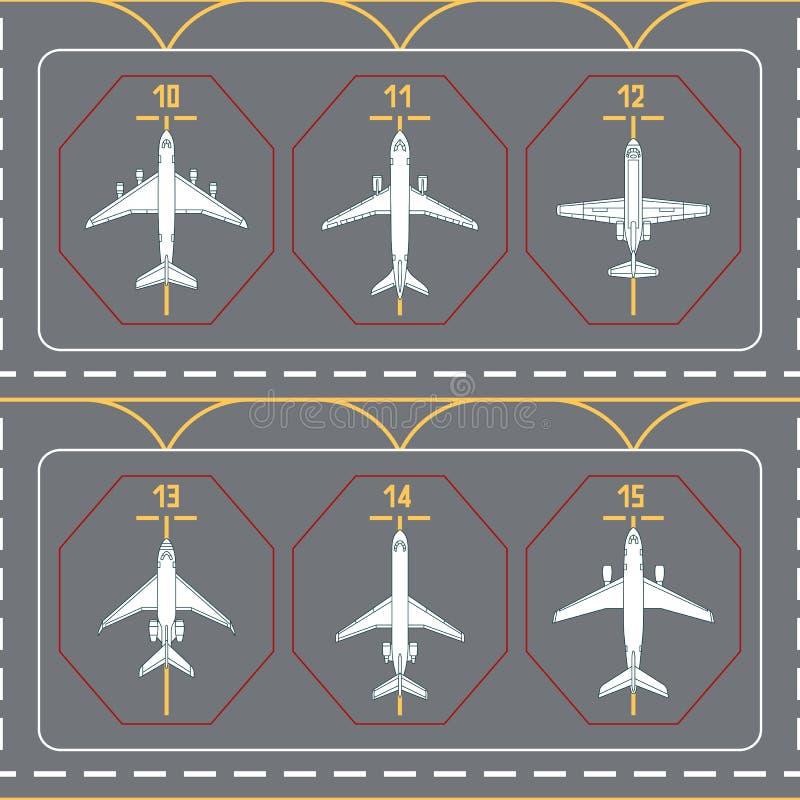 Nahtloses Muster mit Flugzeugen auf dem Terminalschutzblech vektor abbildung
