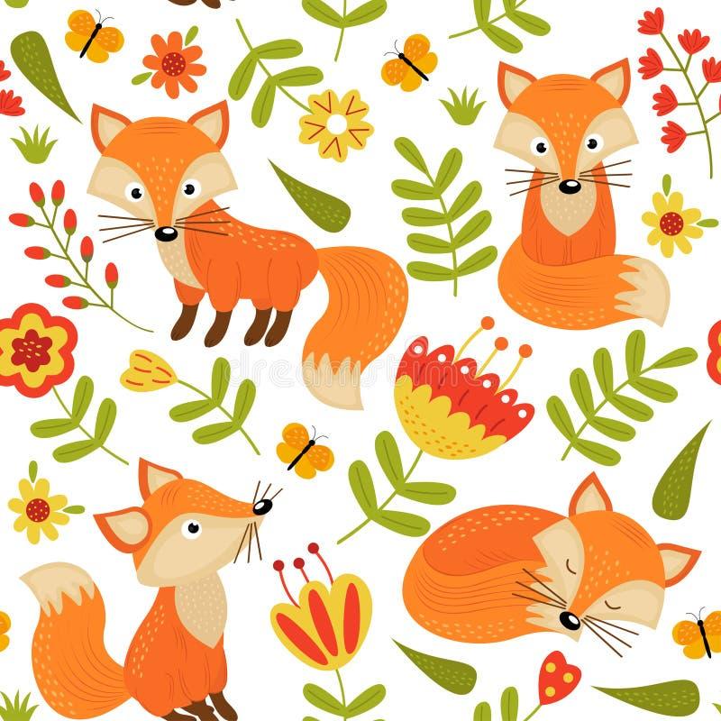Nahtloses Muster mit Fuchs in den Blumen lizenzfreie abbildung