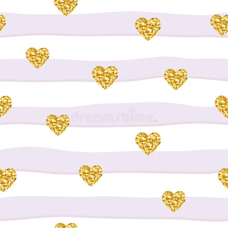 Nahtloses Muster mit Funkelnkonfettiherzen auf gestreiftem Hintergrund Für Geburtstag Mode- und Hochzeitsdesign lizenzfreie abbildung
