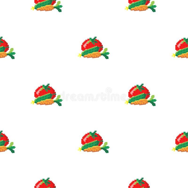 Nahtloses Muster mit 8 gebissener Pixelkarotte, -gurke und -tomate auf einem weißen Hintergrund Auch im corel abgehobenen Betrag  vektor abbildung