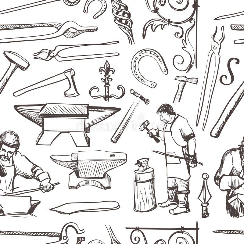 Nahtloses Muster mit Gegenständen auf Schmiedethema stock abbildung