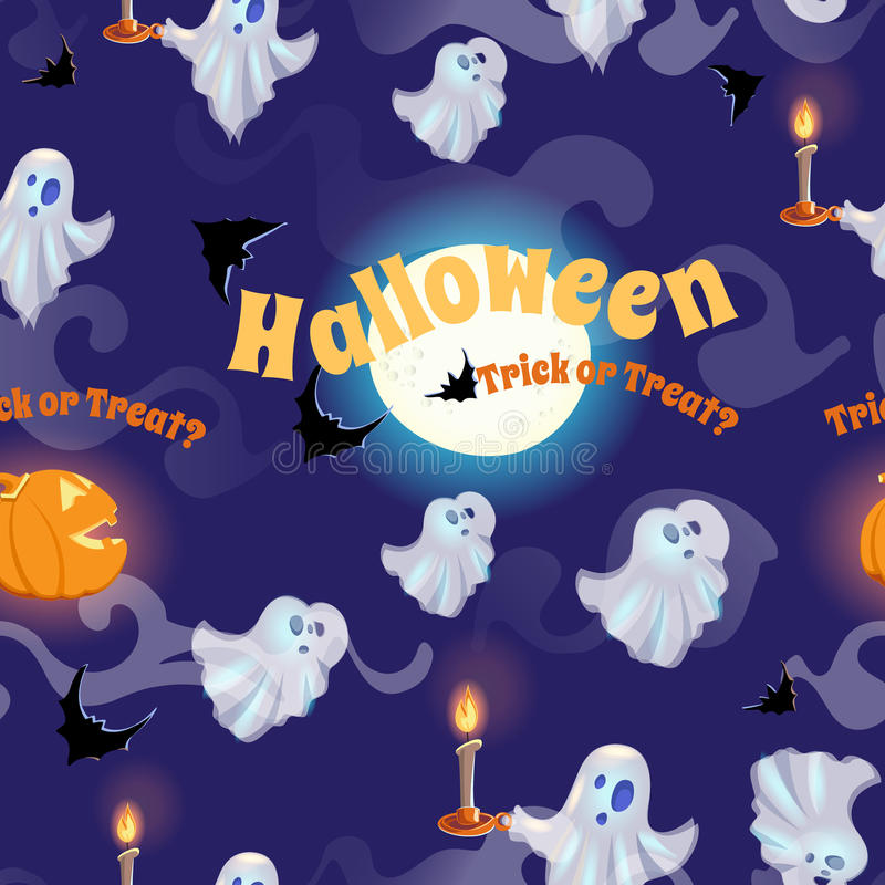 Nahtloses Muster mit Geistern, Schlägern, Mond und Kürbisen für Halloween lizenzfreie abbildung