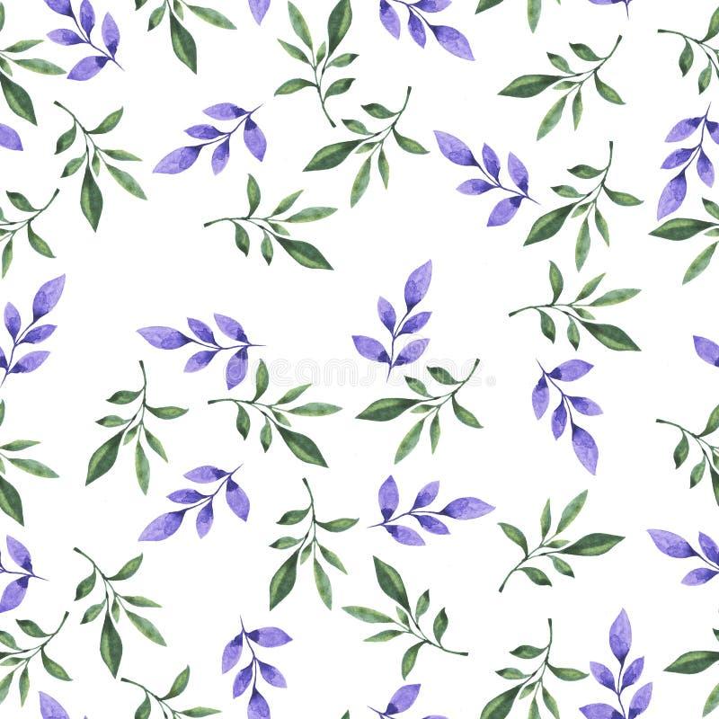 Nahtloses Muster mit Gekritzel lialc und grünen Niederlassungen Hand gezeichnete Aquarellillustration lizenzfreies stockfoto