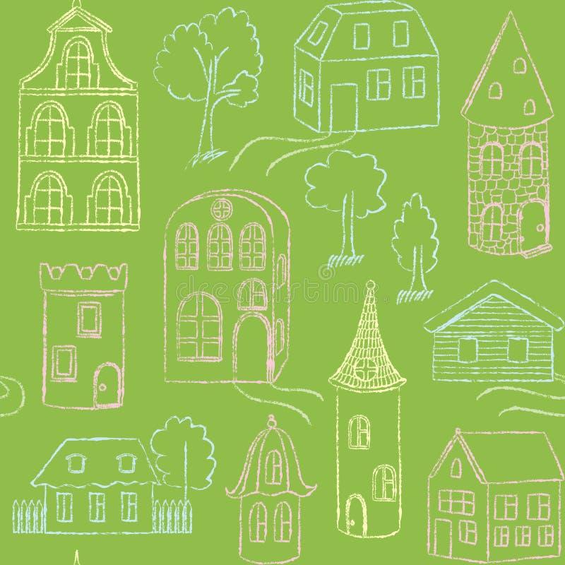 Nahtloses Muster mit Gekritzelhäusern lizenzfreie abbildung