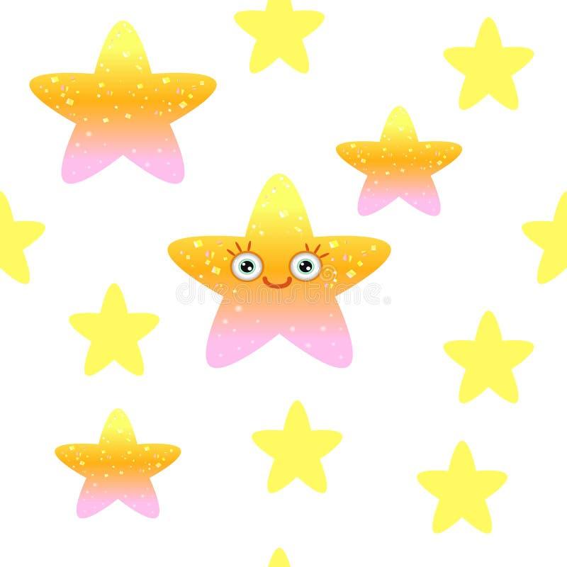 Nahtloses Muster mit Gelb spielt auf wei?em Hintergrund die Hauptrolle Kindischer Entwurf mit Emoji-Sternen vektor abbildung