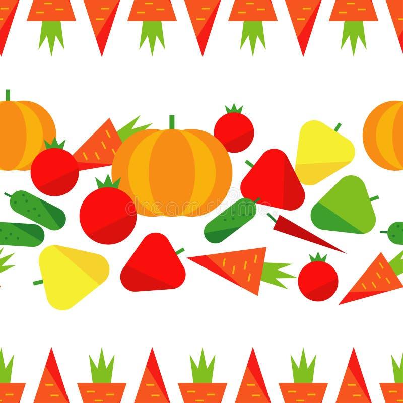 Nahtloses Muster mit Gemüse auf einem weißen Hintergrund Erntefest thanksgiving Flaches Design lizenzfreie abbildung