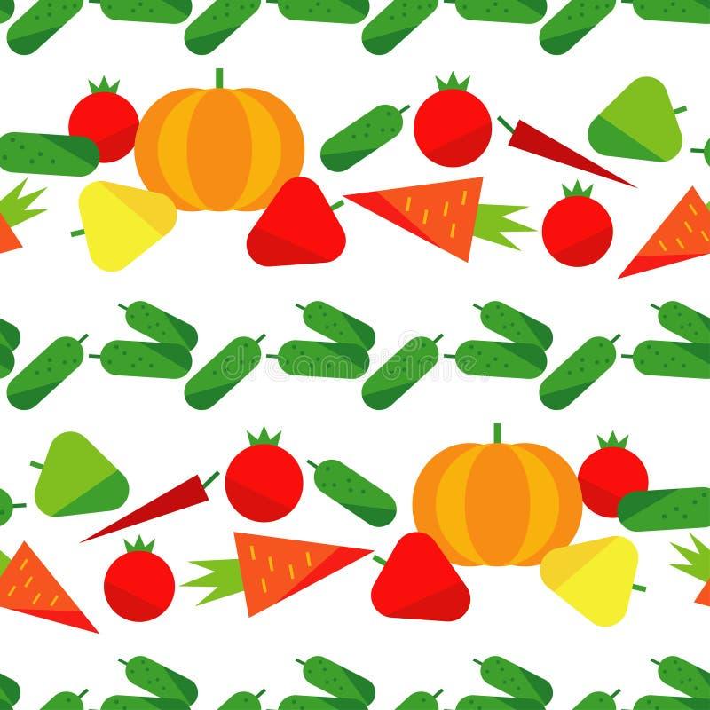Nahtloses Muster mit Gemüse auf einem weißen Hintergrund Erntefest thanksgiving Flaches Design vektor abbildung