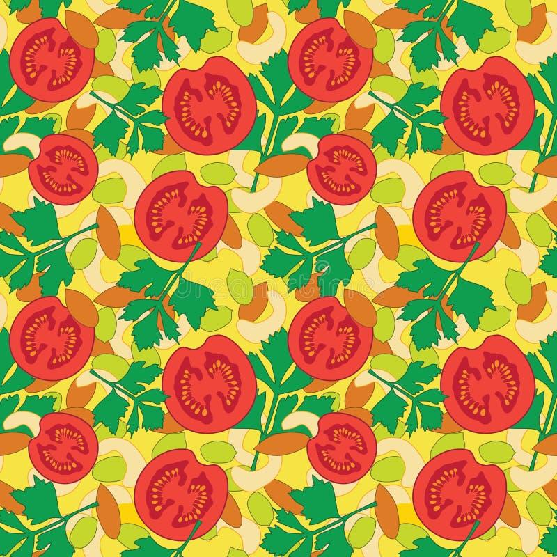 Nahtloses Muster mit Gemüse und Nüssen auf gelbem Hintergrund lizenzfreies stockbild