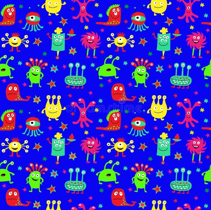 Nahtloses Muster mit gemalten netten Monstern und Sternen stock abbildung