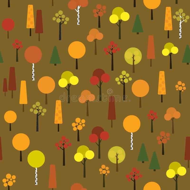 Nahtloses Muster mit geometrischen Bäumen auf einem dunkelgrünen Hintergrund stock abbildung