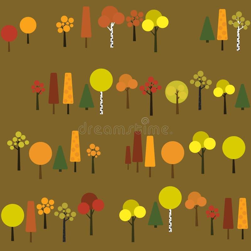 Nahtloses Muster mit geometrischen Bäumen auf einem dunkelgrünen Hintergrund vektor abbildung