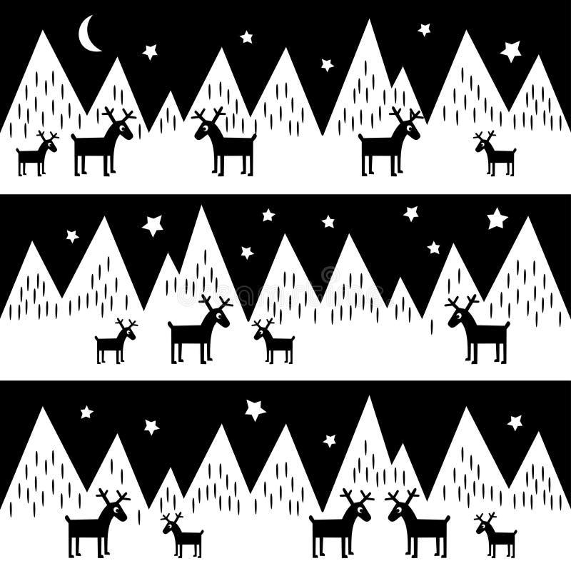 Nahtloses Muster mit geometrischen schneebedeckten Bergen und Renen Schwarzweiss-Naturillustration lizenzfreie abbildung