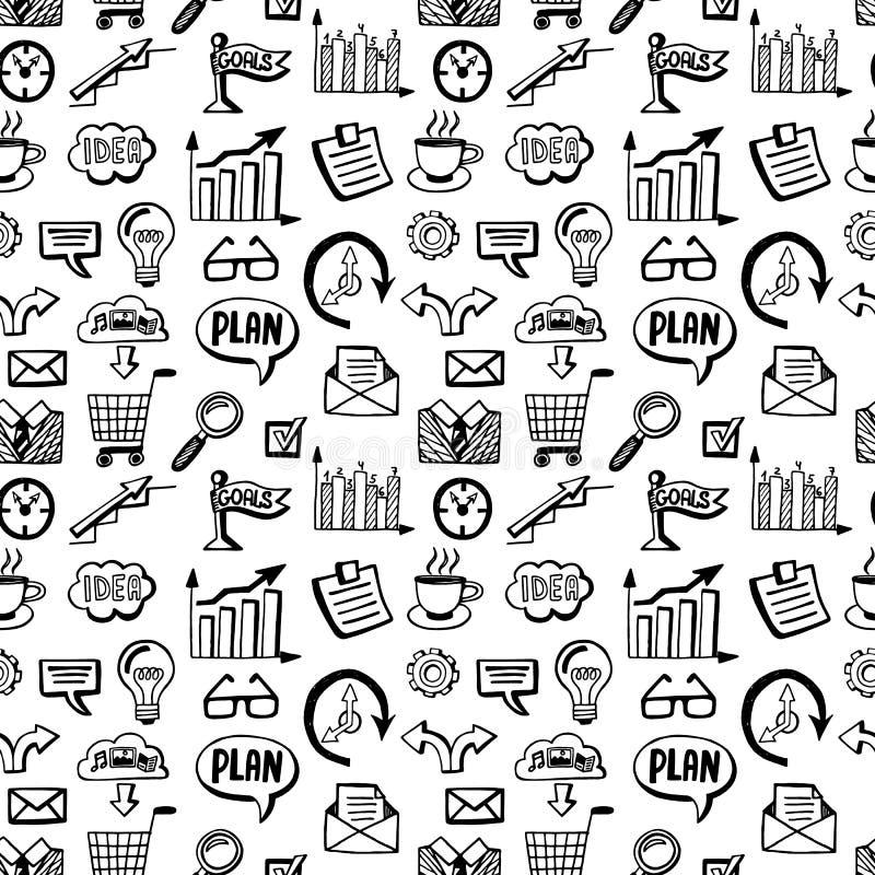 Nahtloses Muster mit Geschäft kritzelt die eingestellten Ikonen stock abbildung