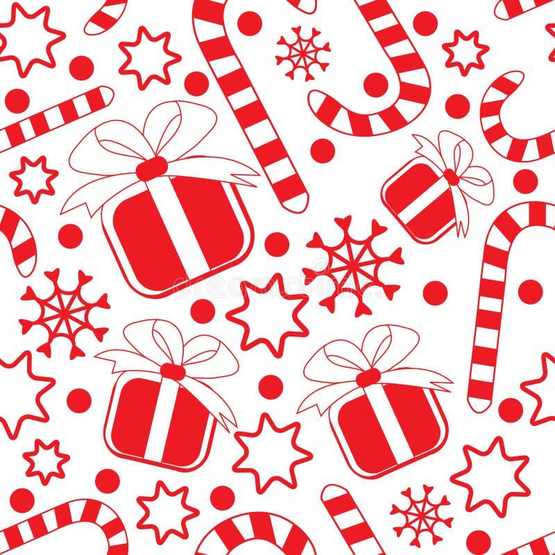 Nahtloses Muster mit Geschenken, Zuckerstangen und Sternen vektor abbildung