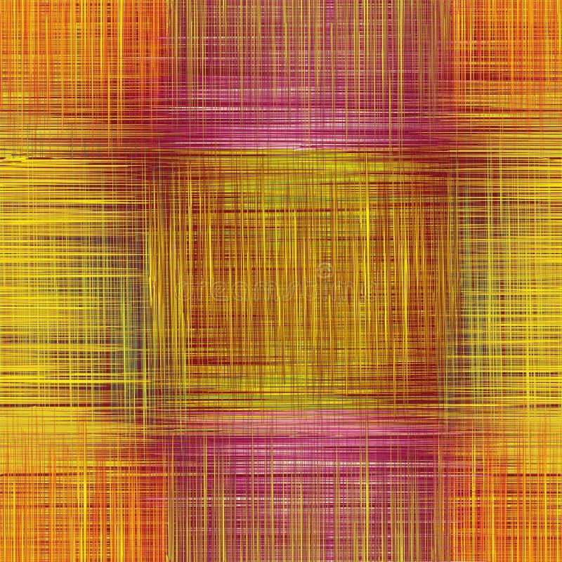 Nahtloses Muster mit gestreiften geschnittenen quadratischen Elementen des Schmutzes im yello, Orange, hochrote Farben stock abbildung