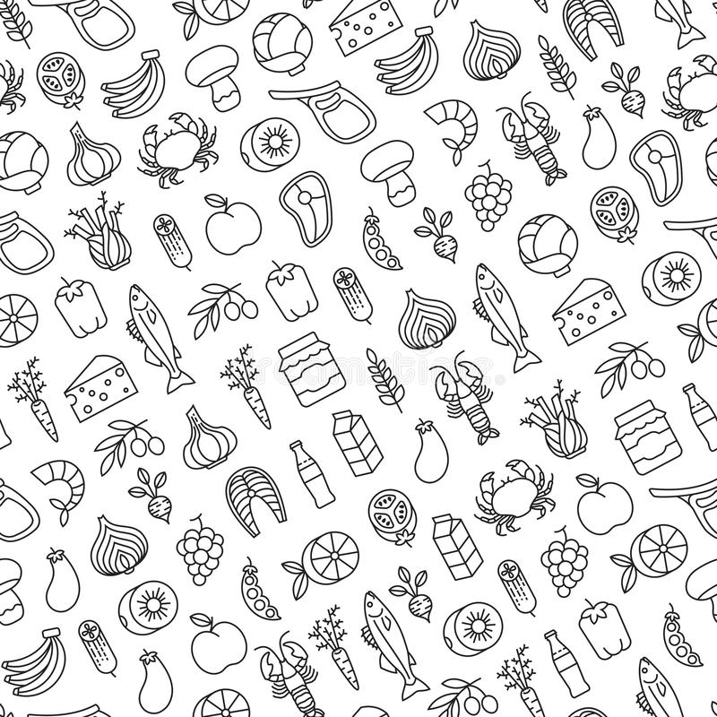 Nahtloses Muster mit gesunden Lebensmittelikonen lizenzfreie abbildung