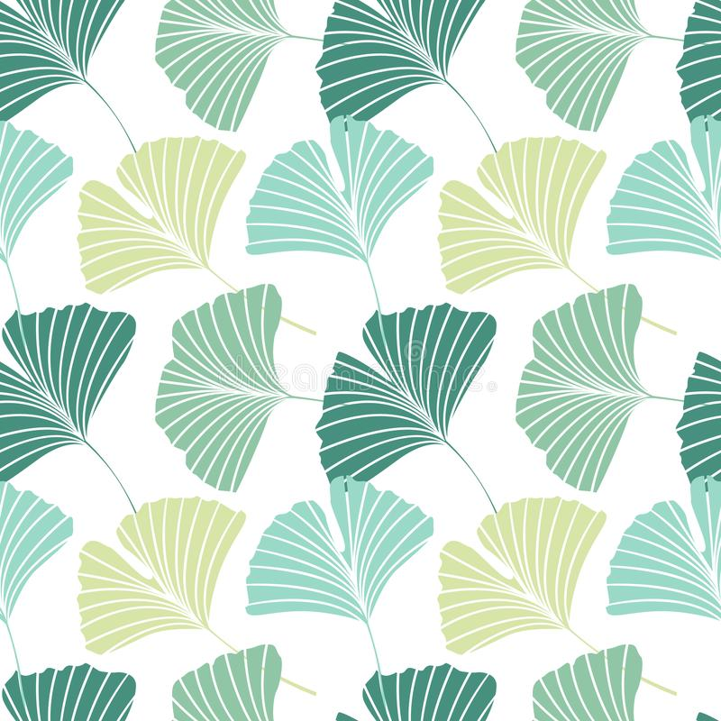 Nahtloses Muster mit Ginkgo biloba Blättern stock abbildung