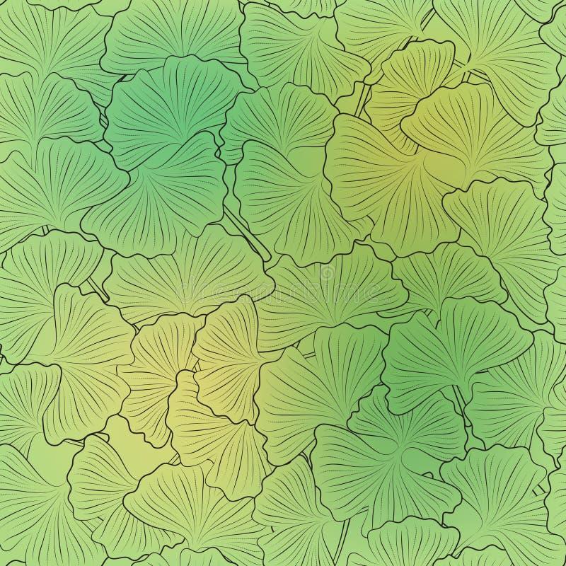 Nahtloses Muster mit Ginkgoblättern auf einem gelbgrünen Hintergrund stock abbildung