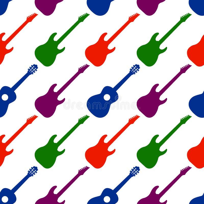 Nahtloses Muster mit Gitarren Es kann f?r Leistung der Planungsarbeit notwendig sein Colorartwork für Gewebe, Gewebe, Andenken, v lizenzfreie abbildung
