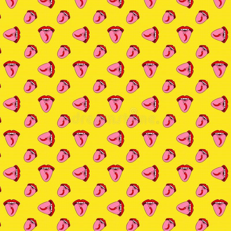 Nahtloses Muster mit glühendem Paprikapfeffer auf der Zunge Das M?dchen zeigt Zunge Rote Lippen der Pop-Arten-Art auf einem gelbe stock abbildung