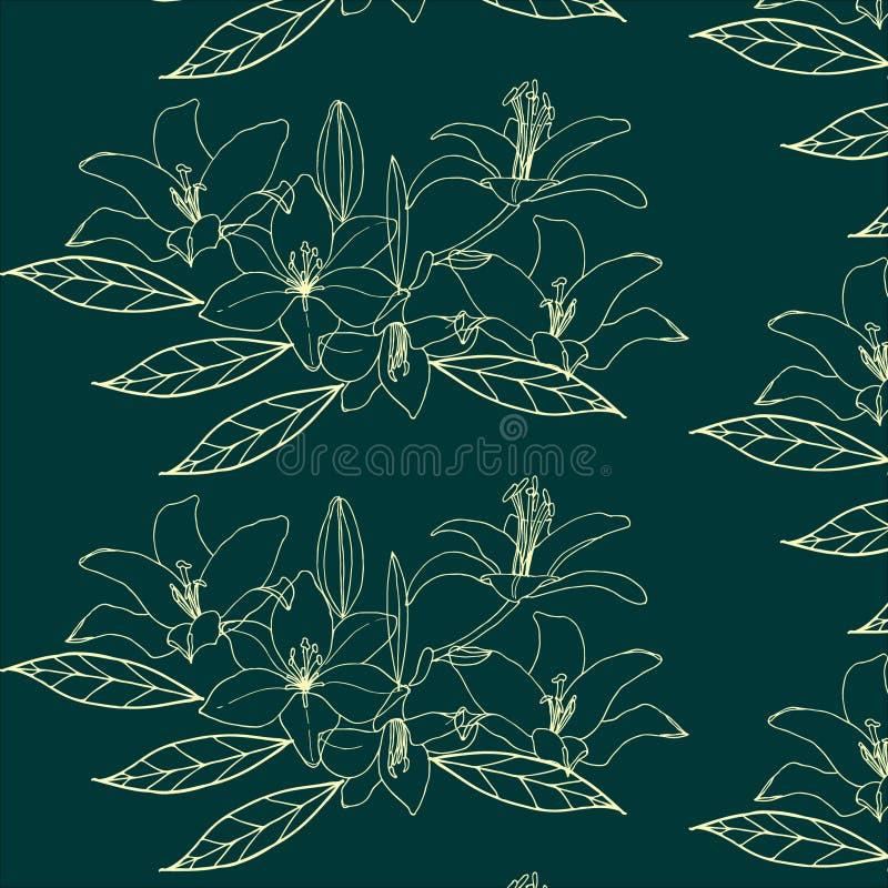 Nahtloses Muster mit Goldblume auf dem grünen Hintergrund lilia lizenzfreie abbildung