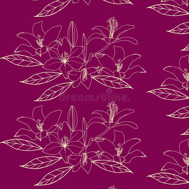 Nahtloses Muster mit Goldblume auf dem violetten Hintergrund lilia stock abbildung