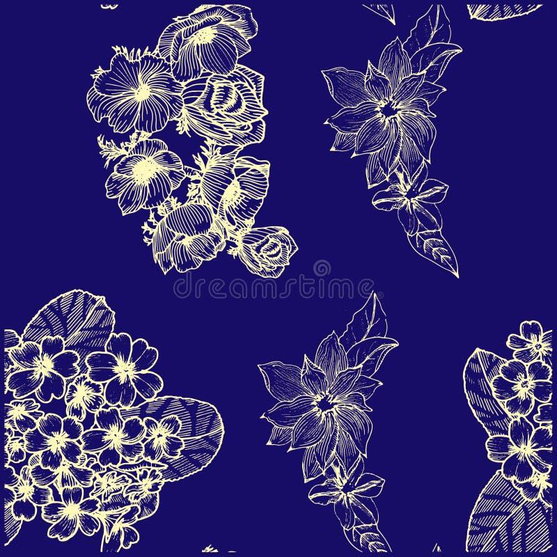 Nahtloses Muster mit goldenen Blumen Anemona primula Clematis lizenzfreie abbildung
