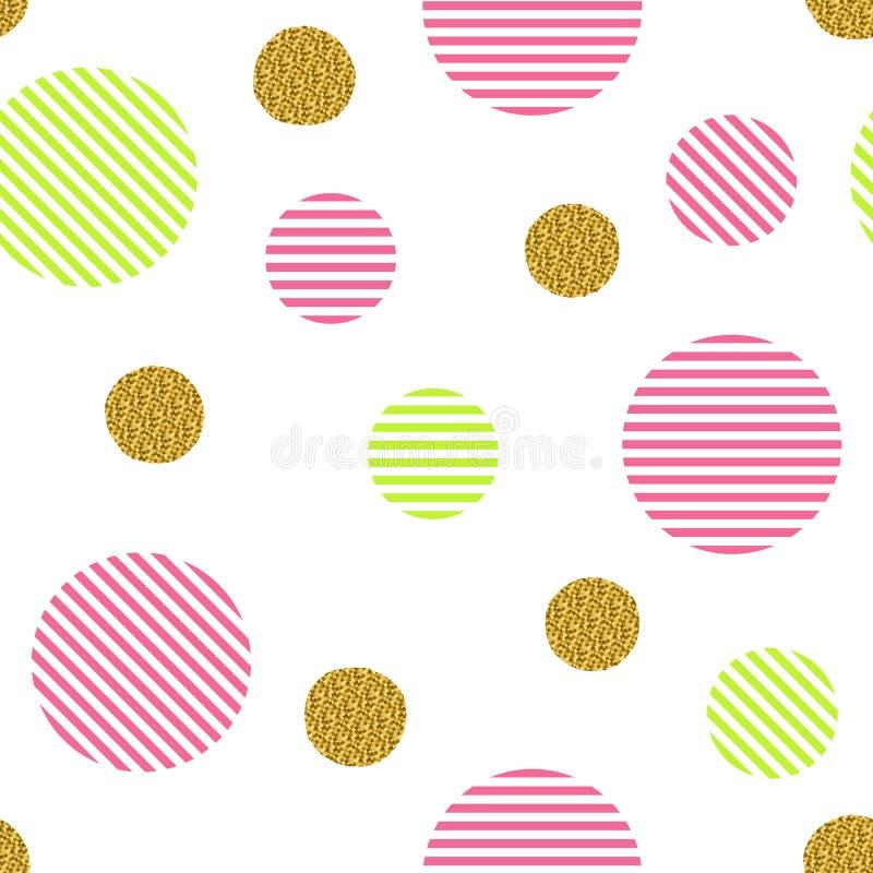 Nahtloses Muster mit goldenen Funkelnkreisen und farbigen Streifen vektor abbildung