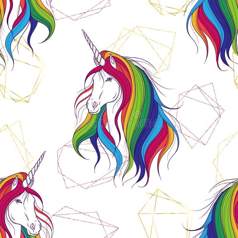 Nahtloses Muster mit goldenen polygonalen Formen und Einhorn mit der Regenbogenmähne lizenzfreie abbildung