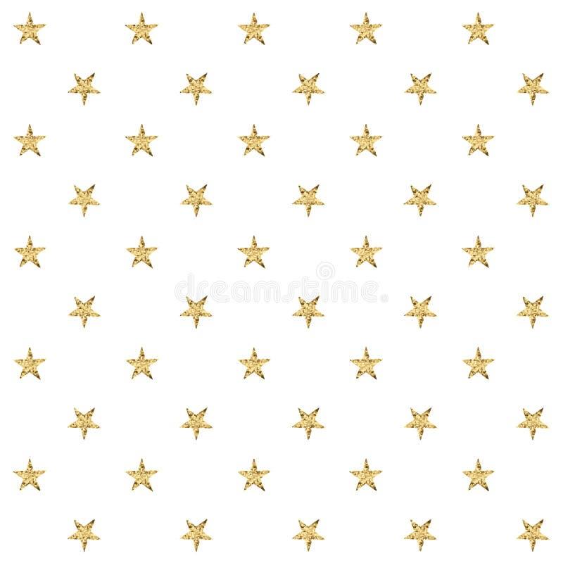 Nahtloses Muster mit goldenen Sternen Auch im corel abgehobenen Betrag stock abbildung