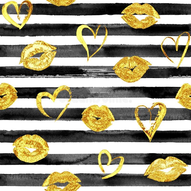 Nahtloses Muster mit Goldlippenküssen und -herzen stockbilder