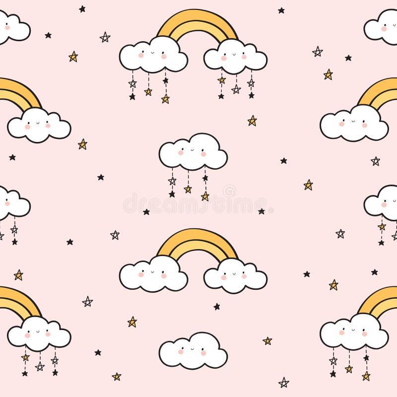 Nahtloses Muster mit Goldregenbogen, lustigen Wolken und Sternen lizenzfreie abbildung