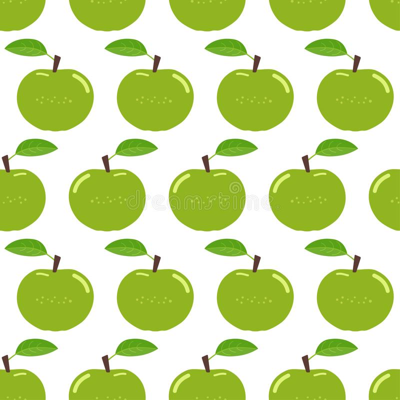 Nahtloses Muster mit grünen Äpfeln stock abbildung