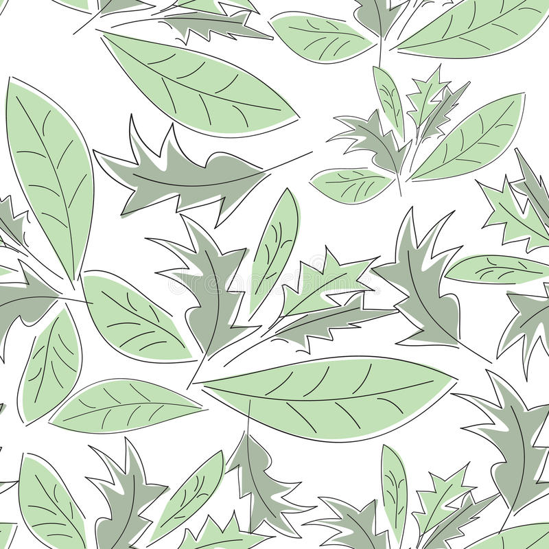 Nahtloses Muster mit grünen Blättern stockbild