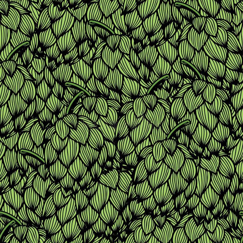 Nahtloses Muster mit grünen Hopfen lizenzfreie abbildung