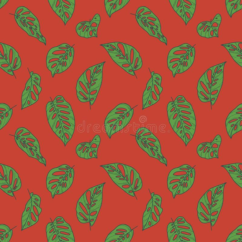 Nahtloses Muster mit grünen tropischen Blattzeichnungen Schweizer Käses Monstera Betriebsauf hellem rotem Hintergrund stock abbildung