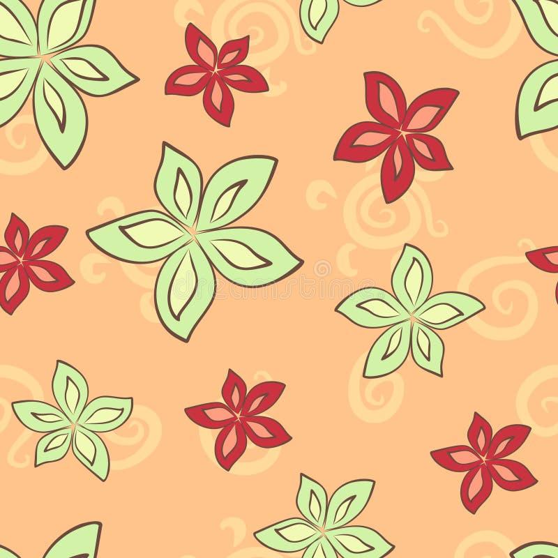 Nahtloses Muster mit grüner und roter Lilie vektor abbildung