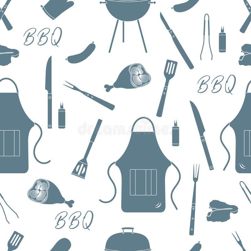 Nahtloses Muster mit Grill, Grillwerkzeuge BBQ stock abbildung