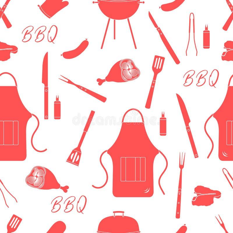 Nahtloses Muster mit Grill, Grillwerkzeuge BBQ vektor abbildung