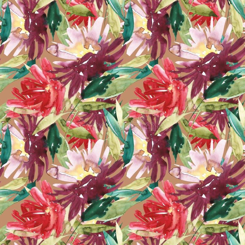 Nahtloses Muster mit großem Aquarell blüht durch Pfingstrosen stock abbildung