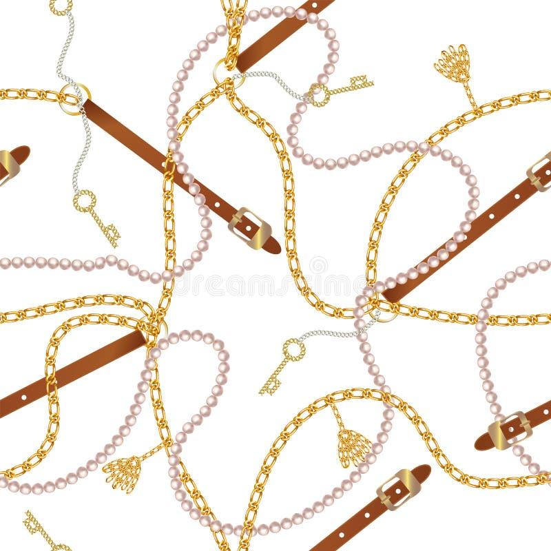 Nahtloses Muster mit Gurten, Kette, Borte, goldenem Schlüssel und Perlen Barocker Druck Hintergrund für Gewebeentwurf lizenzfreie abbildung