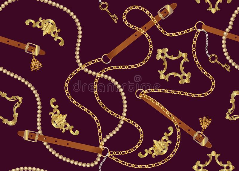 Nahtloses Muster mit Gurten, Kette, Borte, goldenem Schl?ssel und Perlen Barocker Druck Hintergrund f?r Gewebeentwurf lizenzfreie abbildung