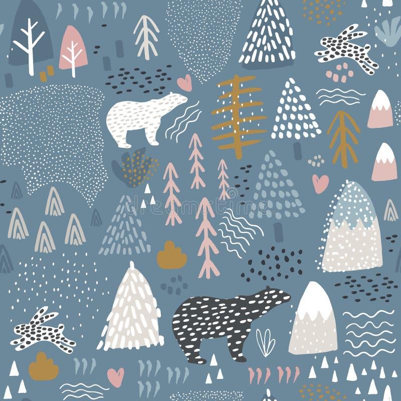 Nahtloses Muster mit Häschen, Eisbären, Waldelementen und Hand gezeichneten Formen Kindische Beschaffenheit Groß für Gewebe, Gewe stockbilder